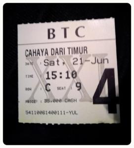 Tiket Nonton Film terbaik FFI 2014 Cahaya Dari Timur : Beta Maluku, yang pada saat itu ditonton oleh tidak lebih dari 10 orang