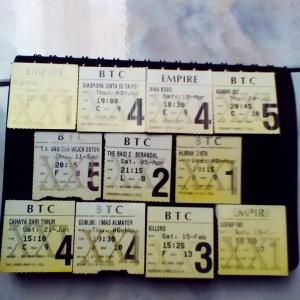 Sebagian kecil beberapa sobekan tiket bioskop film Indonesia sepanjang periode FFI/2014